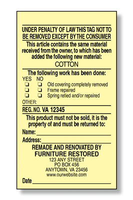 #4 Reupholstered Law Label