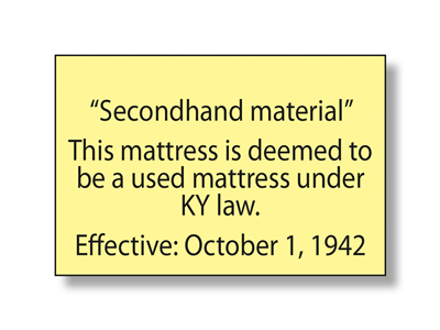 Kentucky Used Mattress Law Label