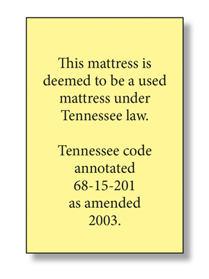Tennessee Used Mattress Law Label