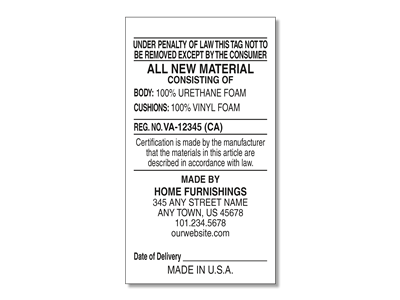 #2 All New Materials Law Label for Manufacturers
