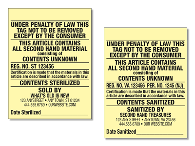 2.25 x 3 Second Hand Law Label