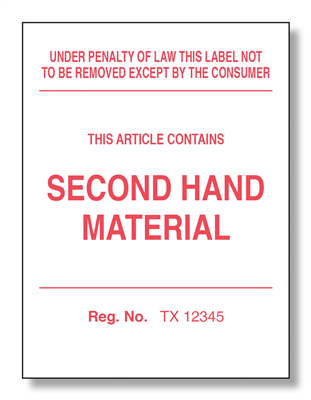 Texas Second Hand Law Label
