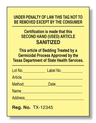 Texas Sanitation Law Label