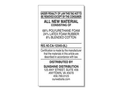 #1 All New Materials Law Label for Distributors