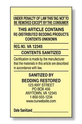 #5 Redistributed Bedding Law Label
