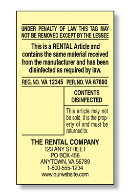 #5 Rental Tag Law Label