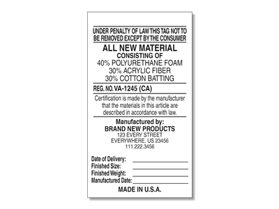 #1 All New Materials Law Label for Manufacturers v2