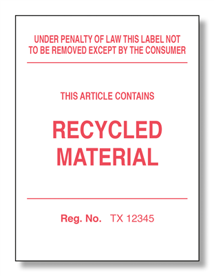 Texas Recycled Law Label