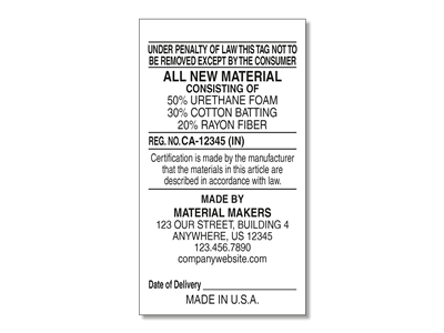 #1 All New Materials Law Label for Manufacturers v1